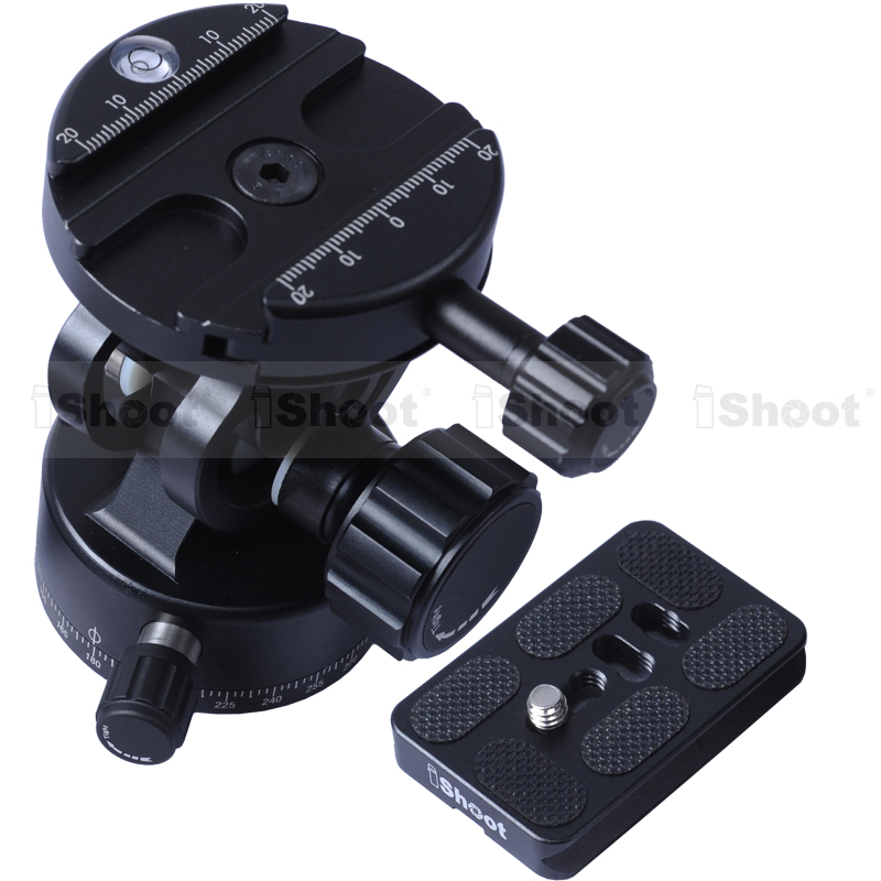 All-metal 2D 360 Panning Panoramic Panorama Clamp Head Ballhead + Camera Quick Release Plate for Tripod Monopod - NEW DESIGN new 360 degree panoramic panorama ballhead clamp 10 indexing head rotator with quick release plate for camera tripod head
