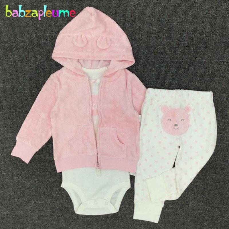 Babzapleume printemps automne nouveau-né survêtement bébé garçons filles vêtements mignon à capuche veste + body + pantalon infantile vêtements ensemble BC1102