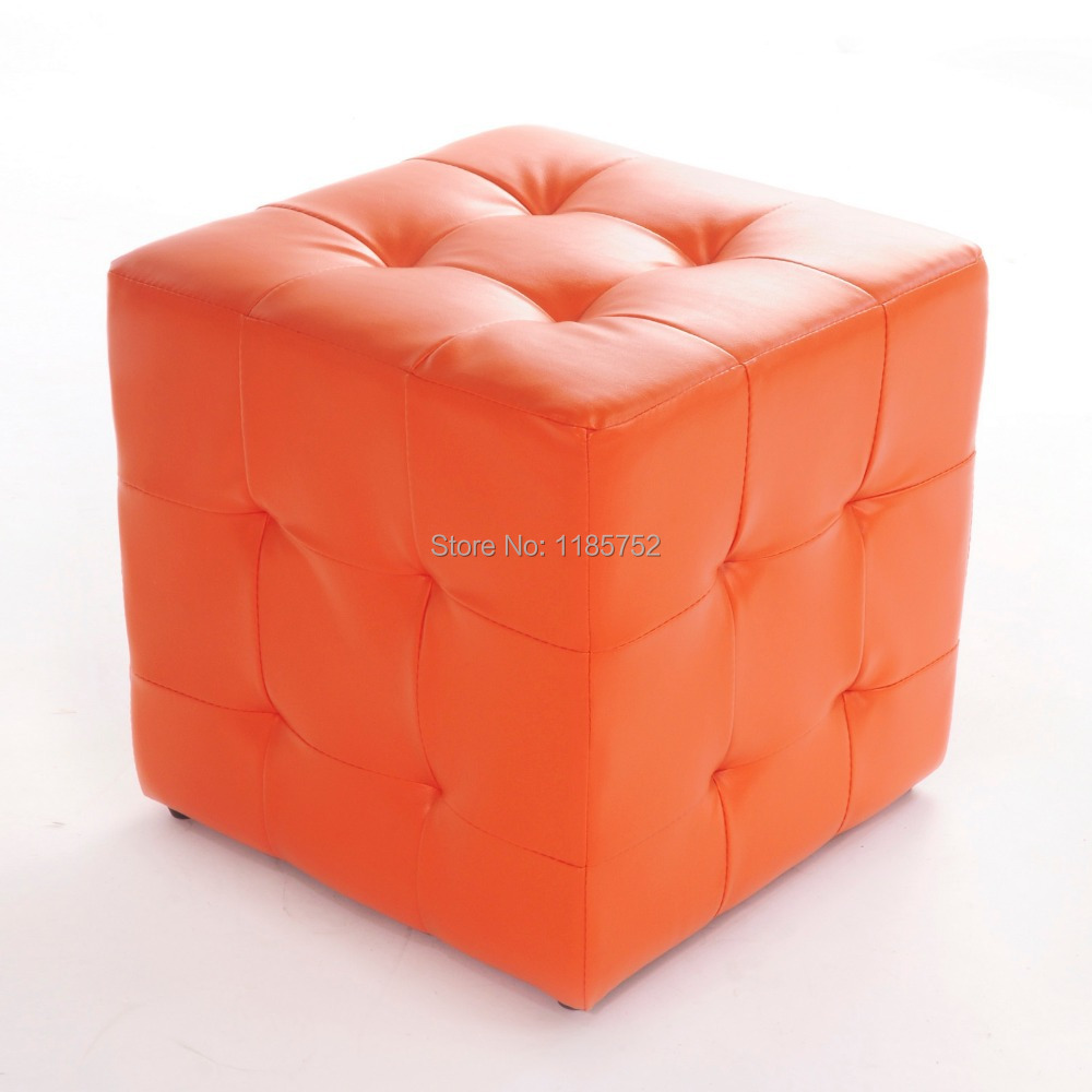 Brand New Pure Orange High Quality Square Ottoman Stool For Home Living Room Furniture Footrest