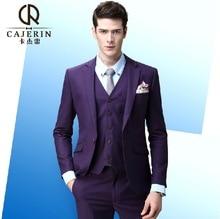 Pre Sale Cajerin High Quality Summer Wedding Groom Suits Jackets Blazers + Vests + Pants 3pcs Business Casual Purple Retro 3XL