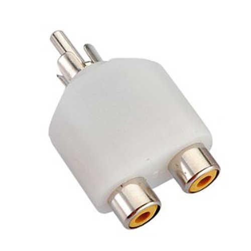 Merek Baru RCA Y Splitter AV Audio Video Plug converter Pria Wanita M/F Kabel Adapter