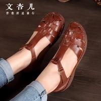 2017 brand new female hand woven leather leather sandals sandals Renaissance woman shoes wholesale Goosen wind