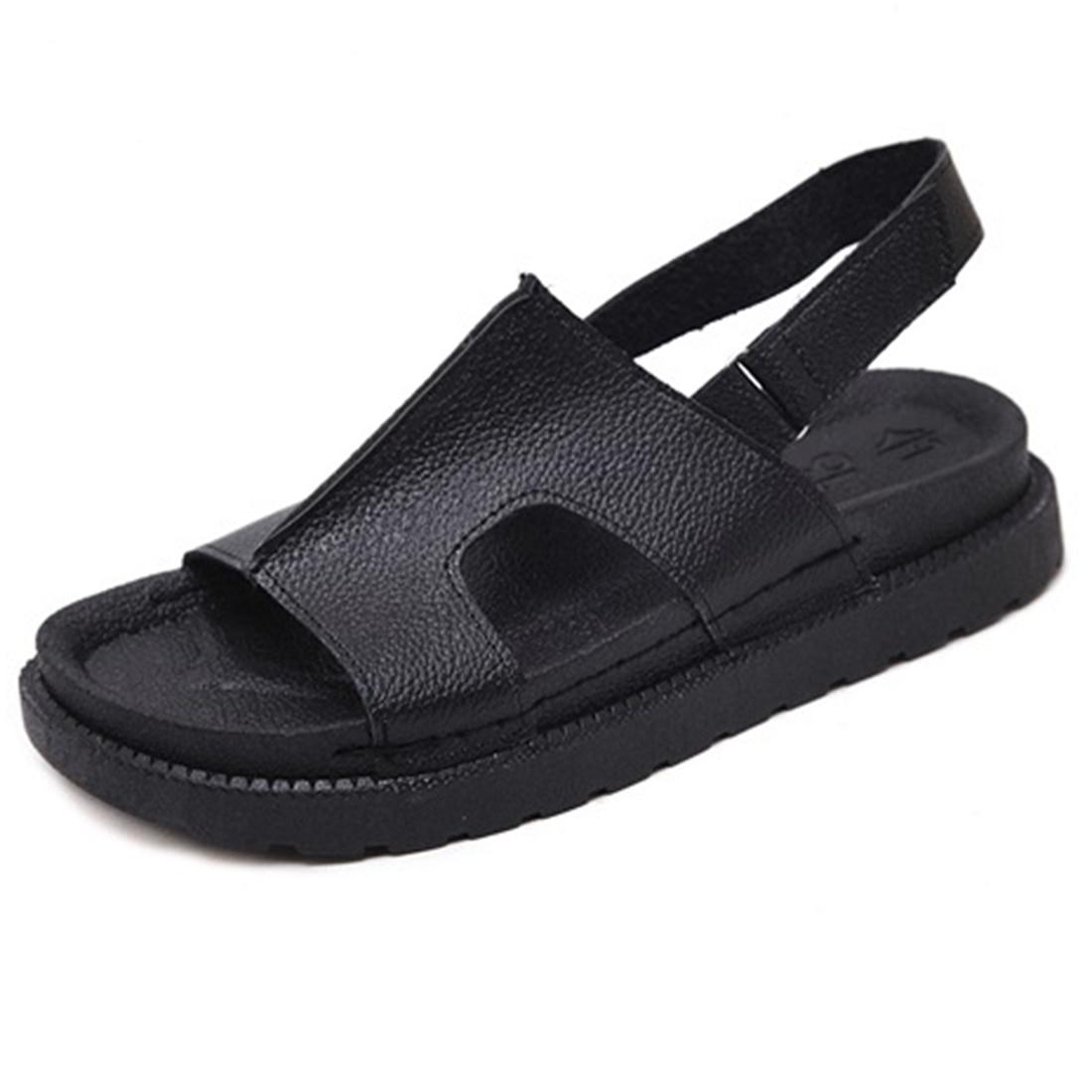 Musim Panas 2017 Lembut Kulit Flat Sandal Wanita Sepatu Hitam Putih Sendal Gelang Ring Warna 35 40 Ukuran Kembali Tali Gratis Pengiriman Di Dari