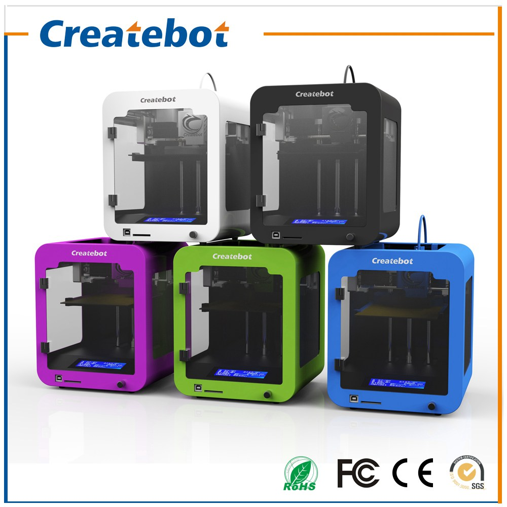 Newest LCD Createbot Super mini  3D Printer kits High Quality Desktop Full colors 3d printer with 1 Roll filaments 1GB SD Card