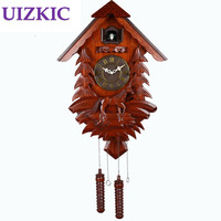 Large fashion wooden vintage carving wall cuckoo clock quieten needle kids room decoration