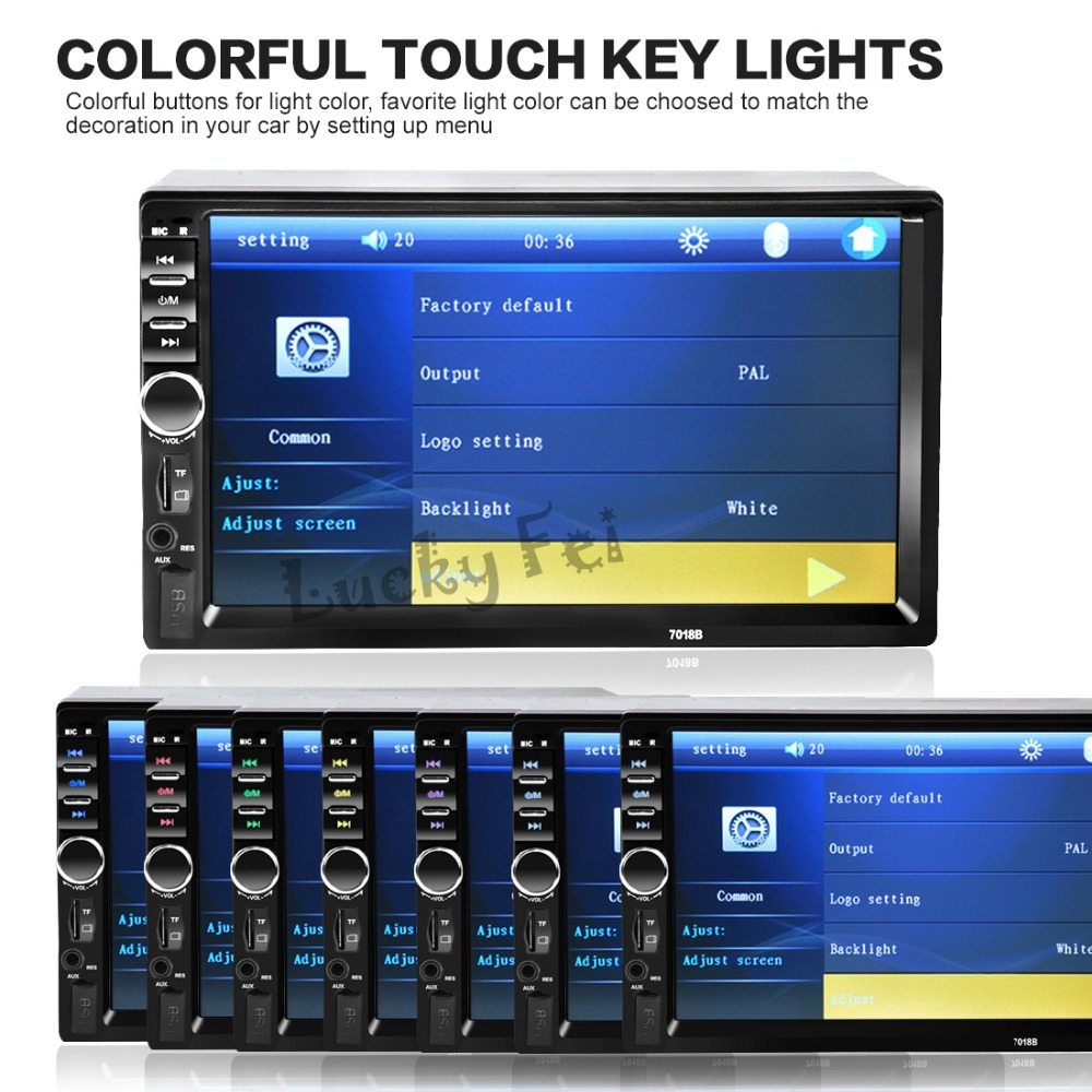 2017 New  2 Din 7'' inch LCD Touch screen car radio player support BLUETOOTH hands free 1080P movie rear view camera car audio car radio 7 inch lcd touch screen car radio player bluetooth hands free movie rear view camera 2 din audio stereo mp5