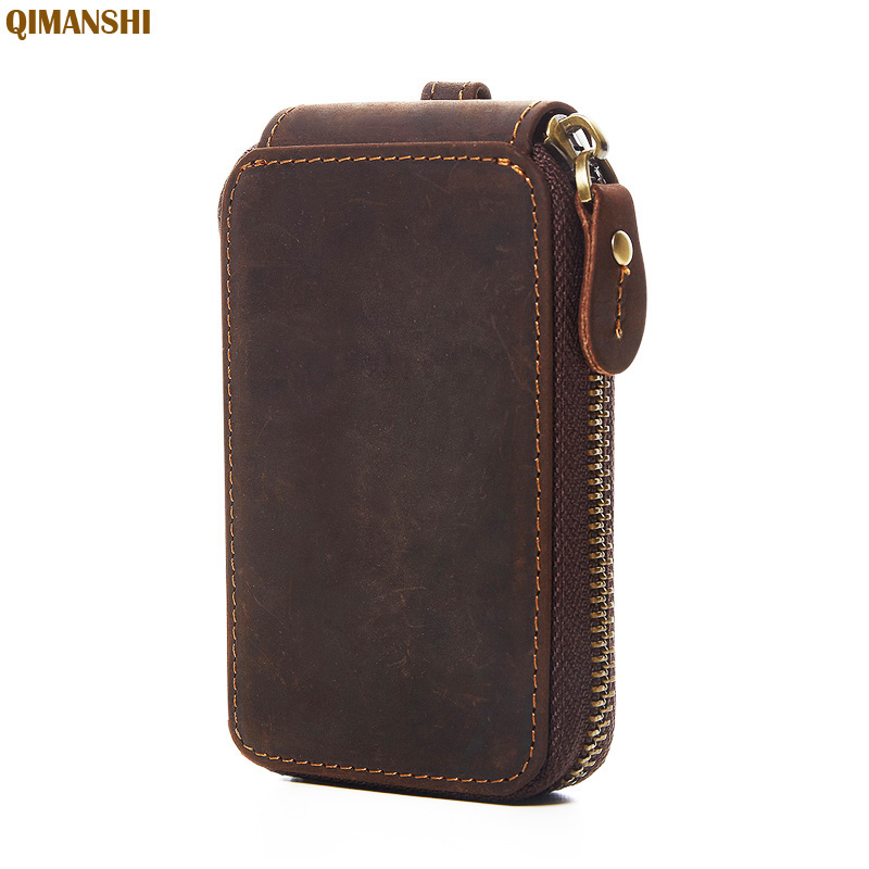 2019 Vintage Genuine Leather Key Wallet Women Keychain Covers Zipper Key Case Bag Men Key Holder Housekeeper Keys Organizer