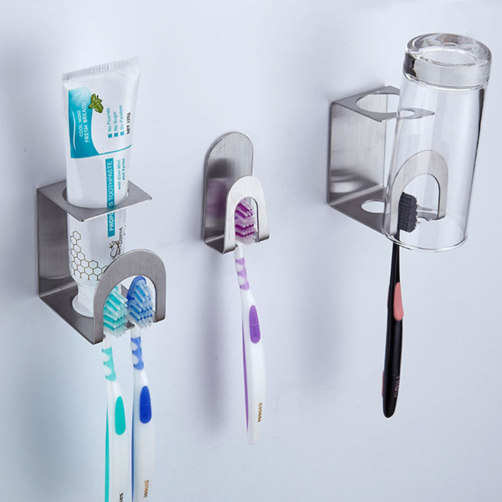 Wall Mounted Toothpaste Self Adhesive Accessories Toothbrush Holder Mug Bathroom Multi-Purpose Holes Stainless Steel image