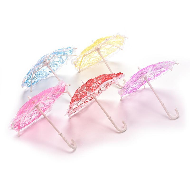 Miniature Baby Born Girl Lady Parasol Lace Umbrella Dolls' Accessories Dollhouse Decor   FJ88 golden parasol
