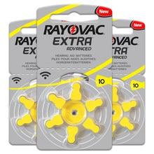 30 pces/5 cartão rayovac extra zinco ar 1.45v desempenho aparelho auditivo baterias a10 10a 10 pr70 próteses auditivas bateria cuidados com a orelha