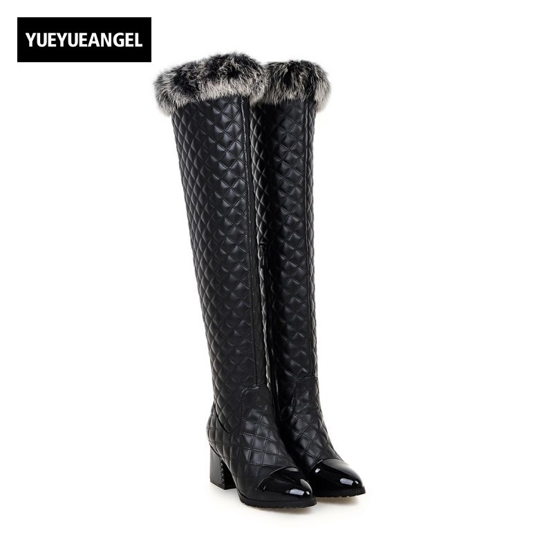 High Quality Womens Winter Boots Rabbit Fur Trim Pu Leather Over The Knee High Boots Retro Classic Block High Heel Female Shoes 2018 boots womens winter over the knee tight high stretch female chunky high heel stocking shoes