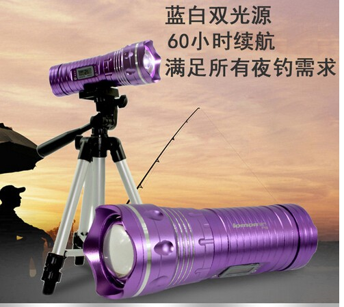 10 W Fishing LED Light Purple Dual Source blue + white / purple + white Lamp Flashlight Torch Night 2 Stands Triangle / Insert 9892 50x 12 8mm microscope w 2 led white 1 led purple light grey black