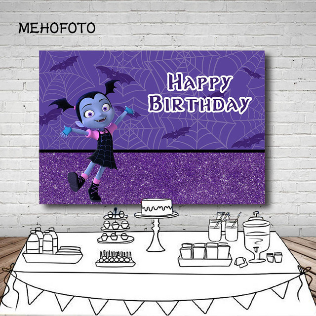 Vinyl Photography Background Cartoon Vampirina Backdrop Purple Glitter  Girls Birthday Party Backgrounds Dessert Table Photocall d1c8ec748709