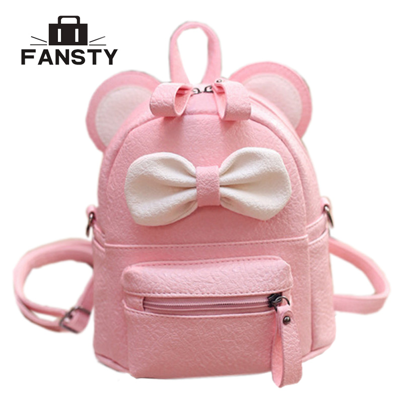 Mini Women Backpack Lady Cute Pu Leather School Backpack Fresh Bow Animal Pink Mouse Small Children Teenager Bag for Girls 12mm waterproof soprano concert ukulele bag case backpack 23 24 26 inch ukelele beige mini guitar accessories gig pu leather