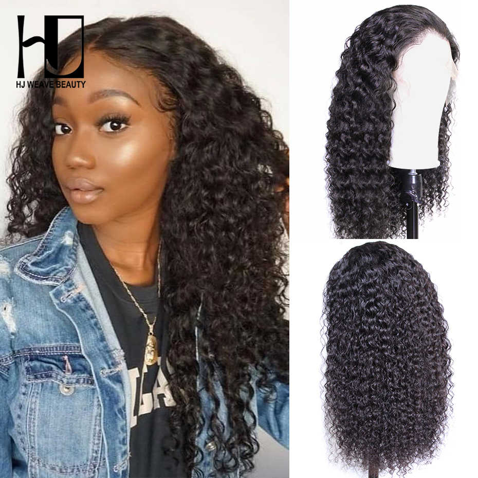 4x4 Jerry Curly Lace Closure Wig Brazilian Virgin Hair Curly Human Hair Wigs For Black Women HJ WEAVE BEAUTY