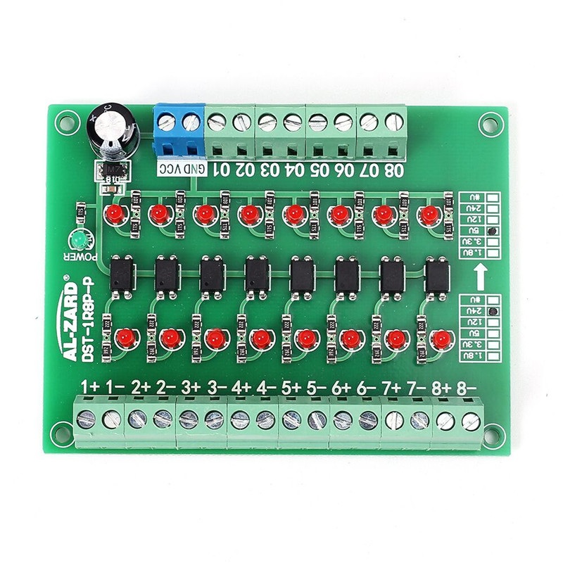 24V To 5V 8-Channel 8bit Photoelectric Isolation Module Level Voltage Converter PNP Output PLC Signal Converter Adapter Module