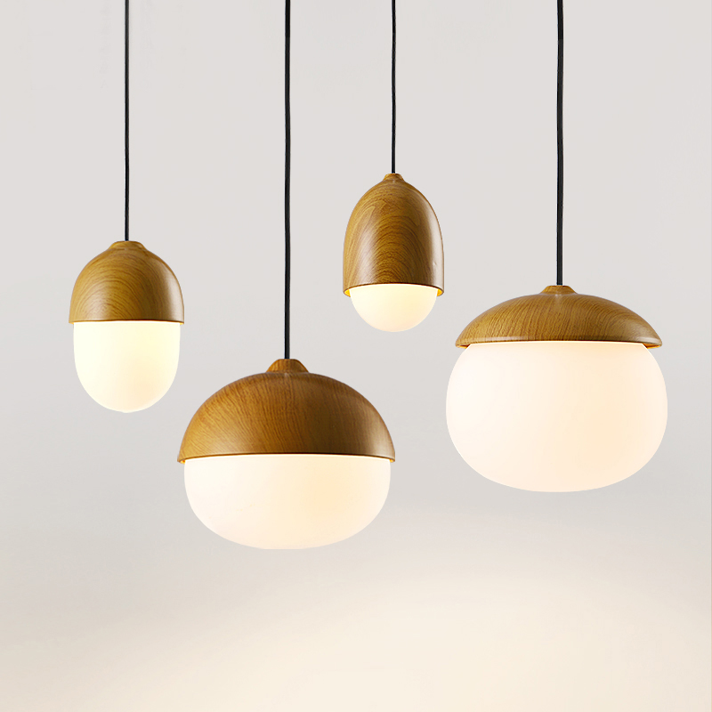 DBF Nordic Nut Model Creative Restaurant Pendant Light E27 Iron Glass Lampshade Bar Bedroom Cafe
