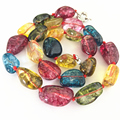 Romantic multicolor irregular faux tourmaline semi-precious stone jasper beads necklace for women 12-16mm jewelry 18inch B2683-1