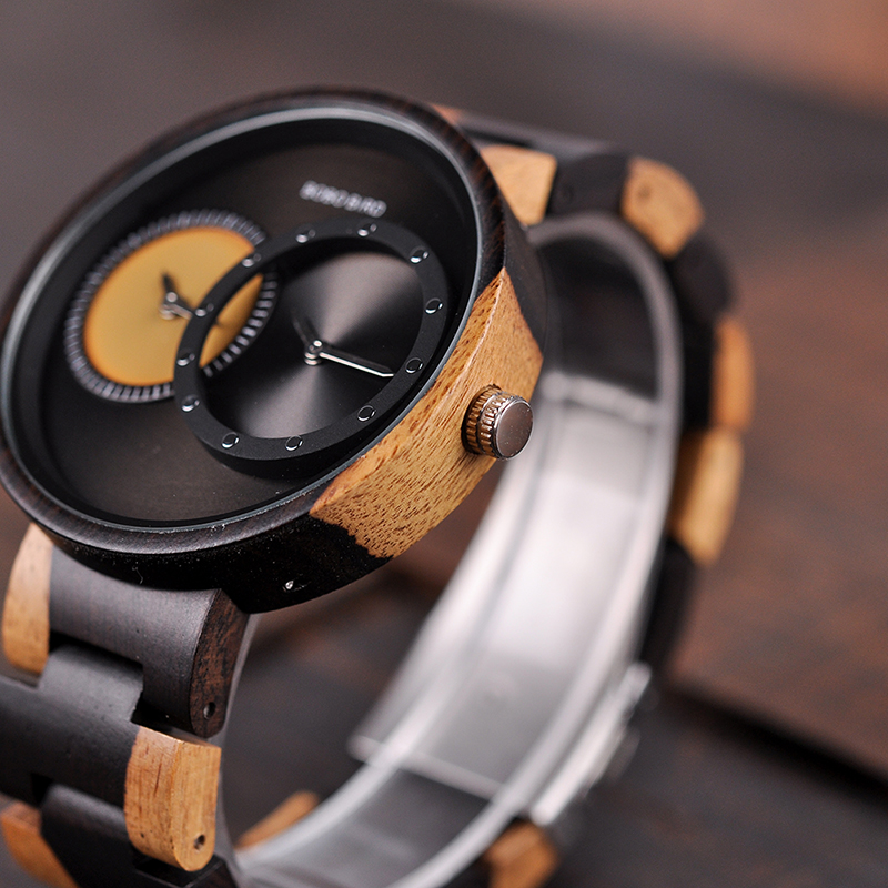relogio masculino BOBO BIRD Watch Men 2 Time Zone Wooden Quartz Watches Women Design Men's Gift Wristwatches In Wooden Box W-R10 14
