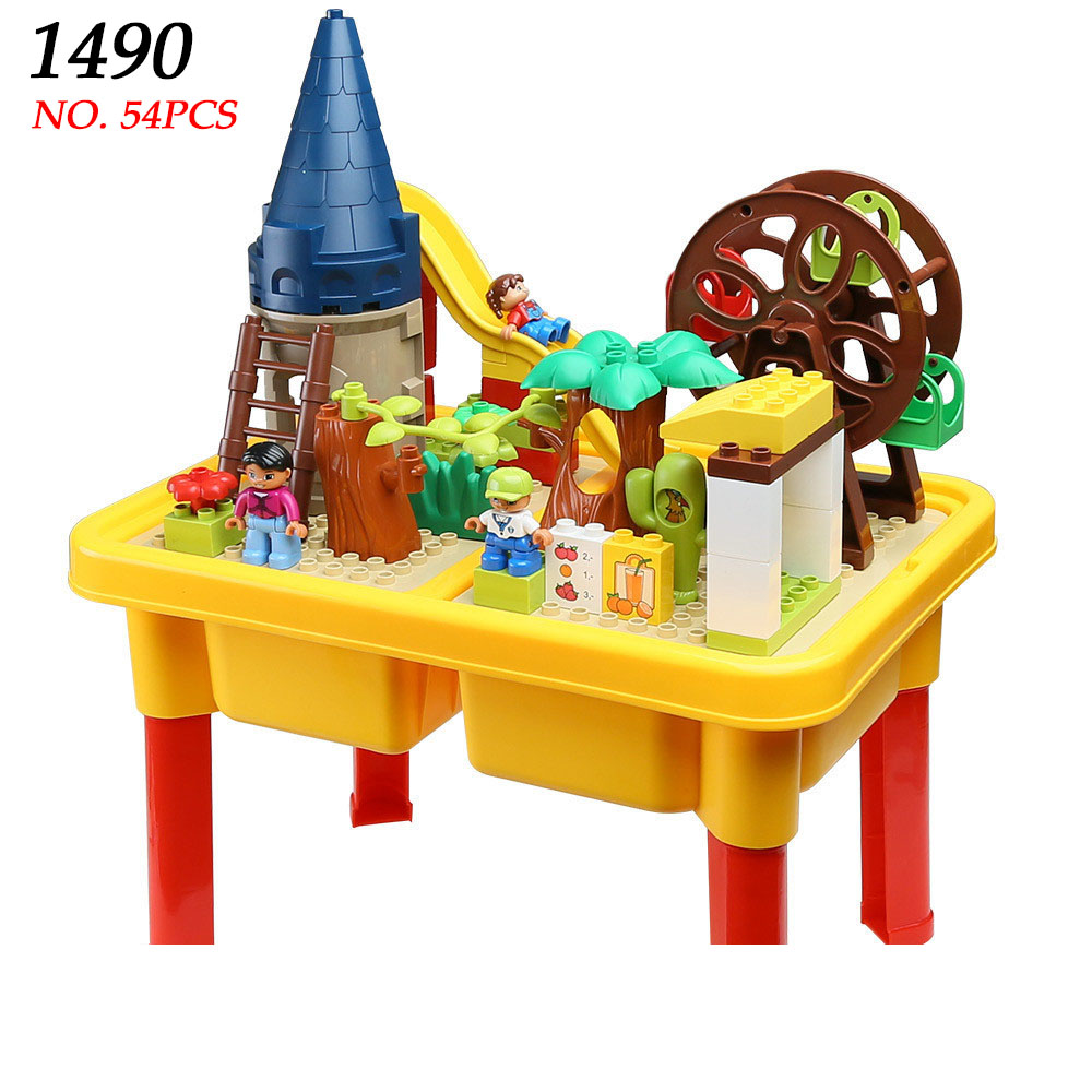 AIBOULLY 1490 building block table homes Park Ferris wheel fun large blocks assembling toys for children Compatible With Duplo table football game table children s toys home large family