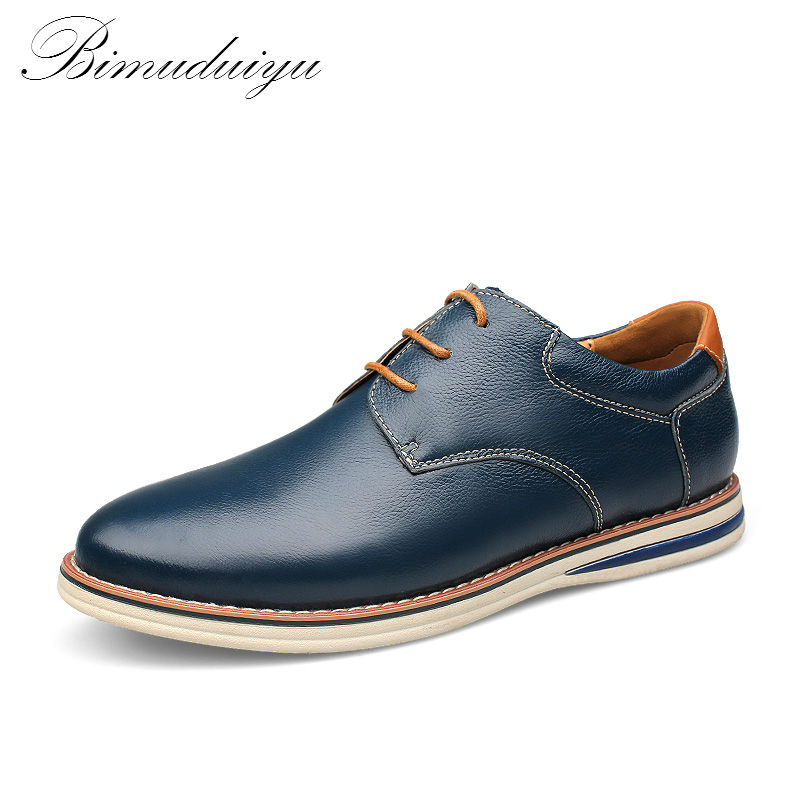 BIMUDUIYU Brand Fashion British Style Genuine Leather Sapato masculino Business Casual Shoes Soft leather  Breathable Shoes Men bimuduiyu new england style men s carrefour flat casual shoes minimalist breathable soft leisure men lazy drivng walking loafer