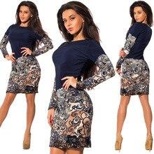 2019  vintage o-neck woman dress above knee Mini patchwork sheath slim fashion comfortable female