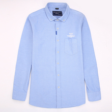 Casual Shirt for Men font b Oxford b font Printed Cotton Fashion Shirt Long Sleeve Large