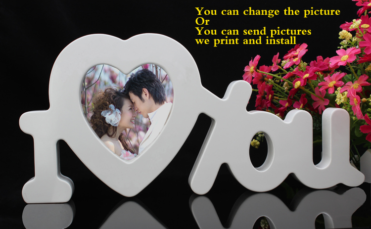 Newest Best Selling Artificial Wood Letter Photo Frame For Wedding