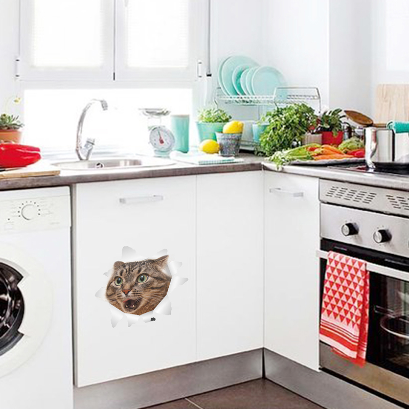 Cute Cat Decorative Wall Stickers Kitten Home Decorations Toilet ...