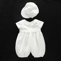 baby boy clothes white baptism baby romper set with hat turndown collar newborn first christmas boy birthday clothing 3 24M