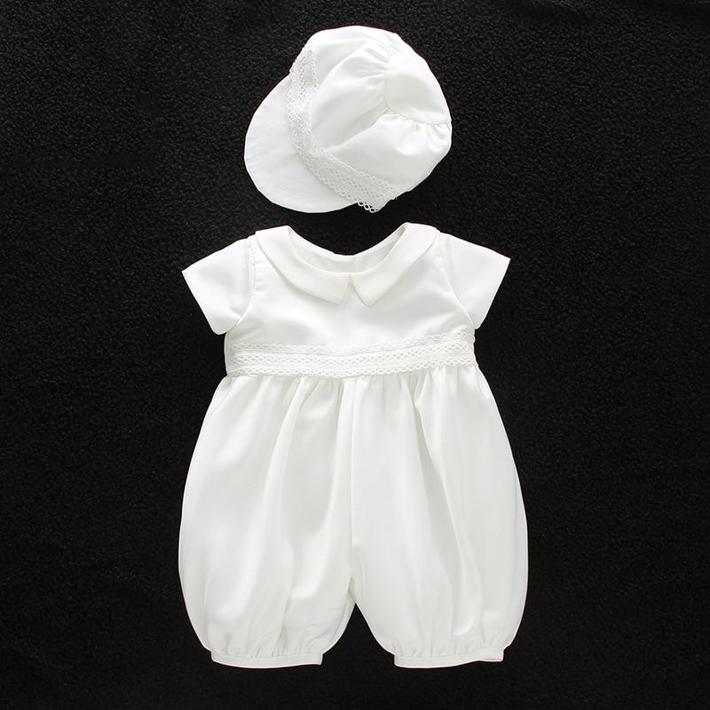 baby boy clothes white baptism baby romper set with hat turndown collar newborn first christmas boy birthday clothing 3-24M baby s first christmas cd
