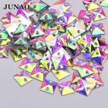 JUNAO-Apliques cuadrados de diamantes de imitación para coser Cristal AB, piedras de cristal de resina, parte trasera plana, costura para ropa, 10mm, 100 Uds.