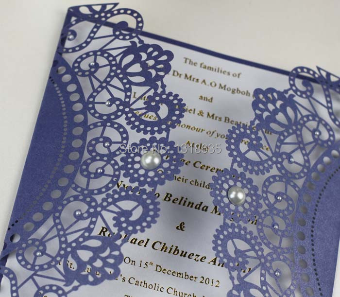 Handmade luxurious royal blue laser cutting wedding invitation card royal blue wedding invitation card laser cut with stopboris Choice Image