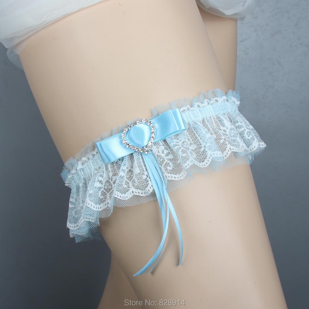 Lowosaiwor Factory Wholesales Lace and Blue Ribbon Wedding Garter Bridal Garter Belt Handmade BF10049