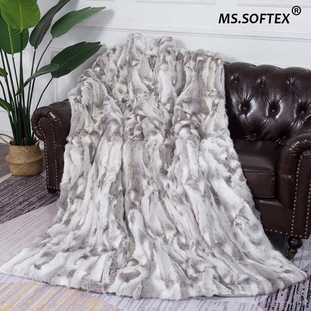 MS. Softex naturel lapin fourrure couverture Patchwork réel lapin fourrure jeter usine OEM fourrure couverture oreillers doux lapin fourrure couverture