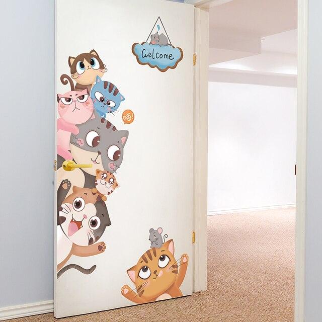 [[SHIJUEHEZI] Mèo Dán Tường cho Bé Phòng Bé Phòng Ngủ Phòng Khách Trang Trí Cửa TỰ Động Vật Treo Tường Đề Can Phụ Kiện