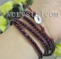 Dark Purple AB Austrian Crystal Faceted Wrap Bracelet 28""