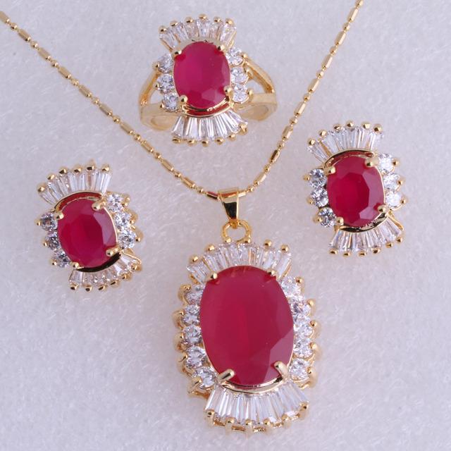 Qualidade superior Imitação Rubi Vermelho Cubic Zirconia Banhado A Ouro Amarelo colar/Pingente/Brincos/Anéis Conjuntos de Jóias SH0044