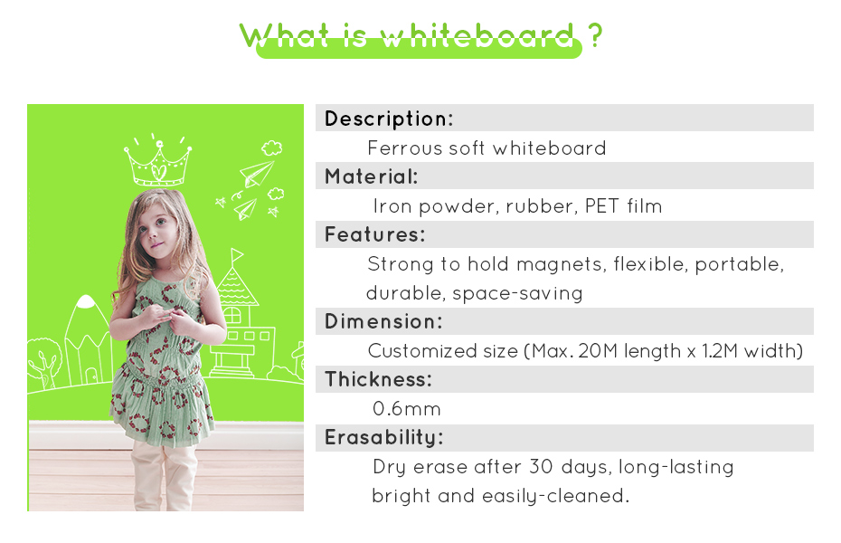930_04 New creative ferrous whiteboard DIY Green board Message Board waterproof Wall Sticker 150 cm x 100 cm x 0.6 mm