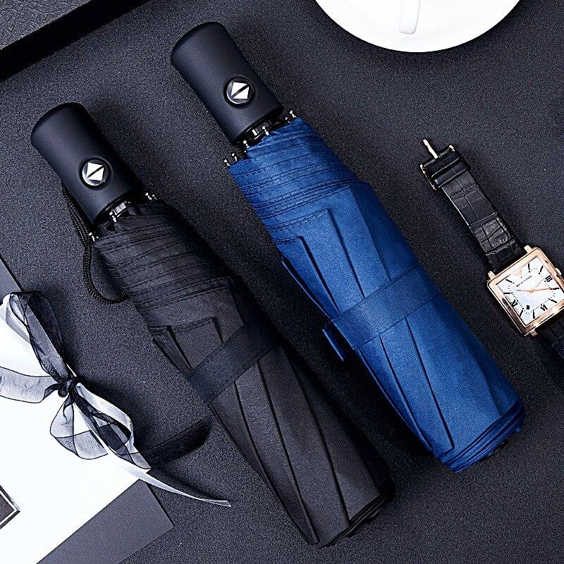 Chuva de Sol Guarda-chuva Automático Anti-UV Revestimento Preto 3 Dobrável Resistente Ao Vento Auto Luxo Big Mulheres Homens À Prova de Vento Costelas 8 Parasol