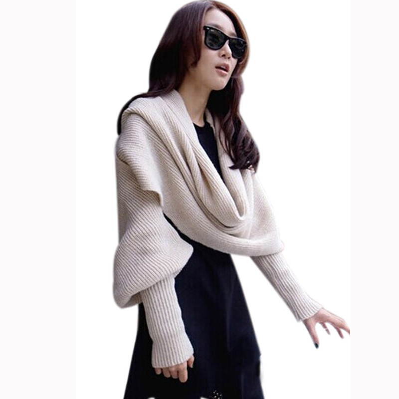Fashion-Woman-Shawls-Women-Scarves-Solid-Sleeves-Scarf-Winter-Warm-Knitting-Long-Soft-Wraps-Scarves-Novelty