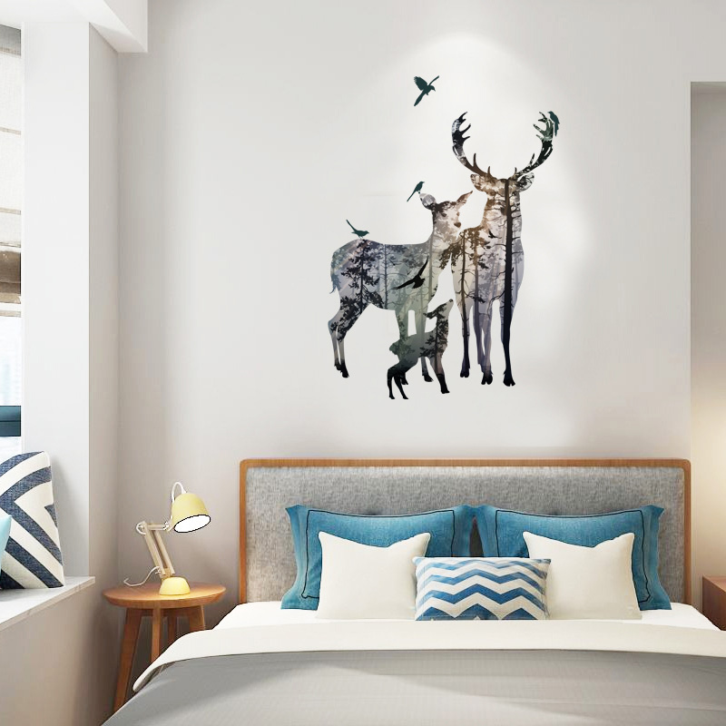 Fundecor elk forest silhouette wall stickers home for Decoration autocollant mural