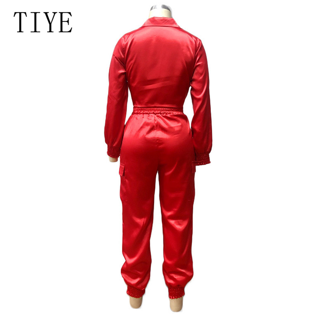 TIYE Elegant Satin Bodycon Bandage Jumpsuit Women 2019 Autumn Long Sleeve Solid Lapel Deep V Neck Pockets Playsuits Streetwear in Jumpsuits from Women 39 s Clothing