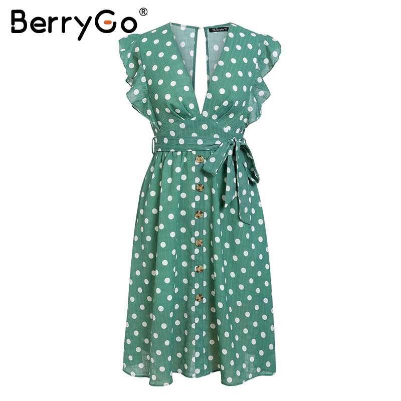 BerryGo, сексуальное зеленое летнее платье в горошек с v-образным вырезом, 2018, женское платье с оборками, поясом и пуговицами, элегантное пляжное женское платье для отдыха