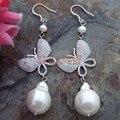 15x20mm White Keshi Pearl Silver Hook earrings cz Connector