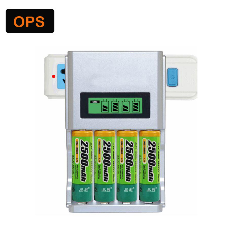 Universal 4 Slots LCD Display Smart Intelligent Lithium Battery Charger For AA/AAA Ni-Cd Ni MH Rechargeable Batteries EU/US Plu