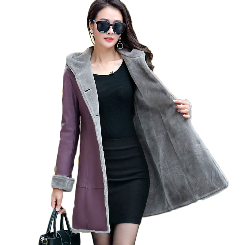 NEW Boutique Women winter leather jacket Fur Together coats Medium length Hooded trench Plus size 7XL Thicker Leather jackets leather jacket