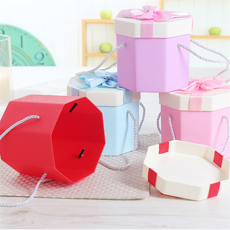 Doreenbeads 2018 New Octagon Upper Lower Lid Bows Gift Box Rope Handle Pink Gift Box For Wedding Favors Birthday Gift Package