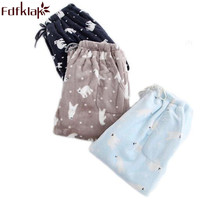 Fdfklak Autumn Winter Flannel Thicker Couple Pyjamas Bottom Print Women's Trousers Pajama Pants For Women Pajama Trousers Q419