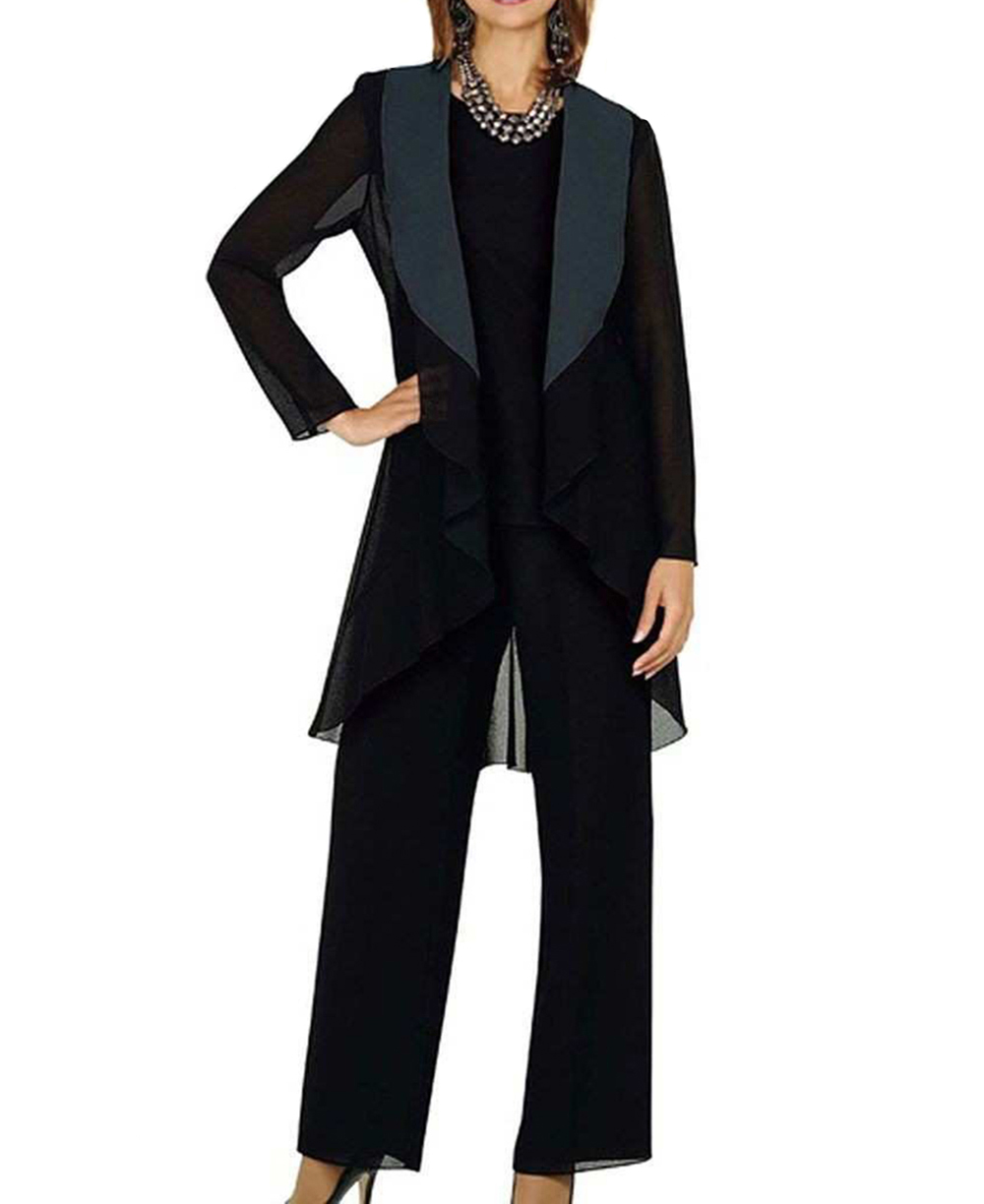 Women 3 Pieces Draped Shawl Lapel Chiffon Mother Of The Bride Dress Pants Suit With Jacket Outfit Long Sleeves For Wedding 2019